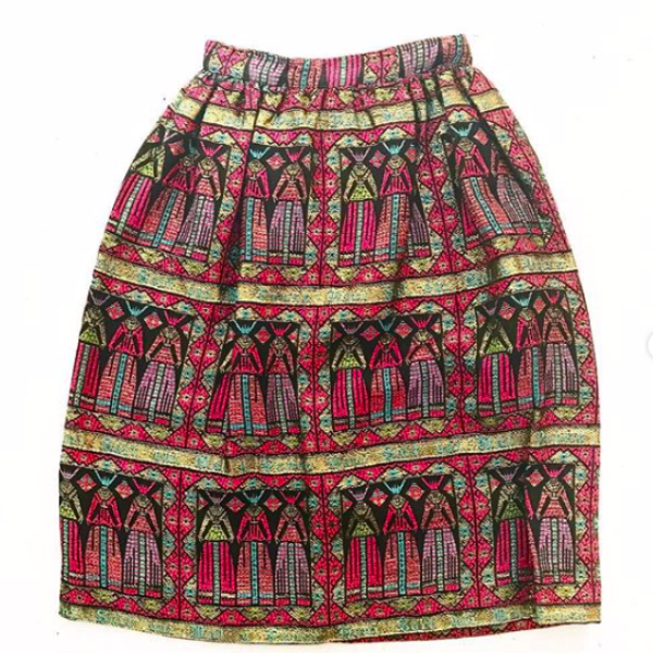 1960's Tulip Skirt with Gold Print