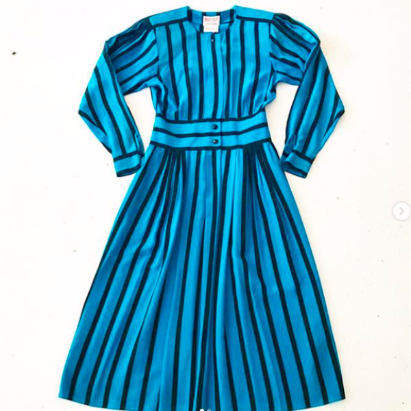 1980's Teal and Black Striped Silk Dress