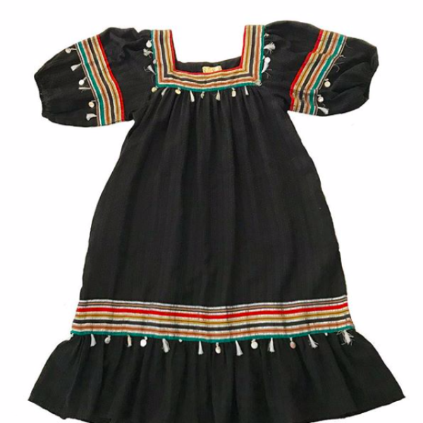 70's Black Gauze Dress with Silver Stripes