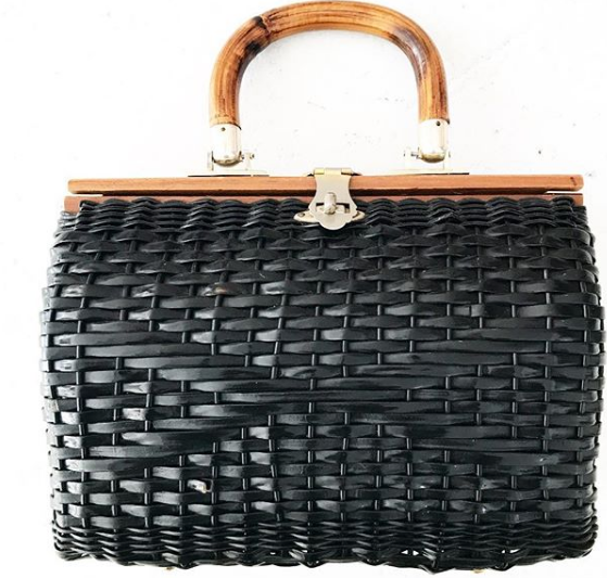 1960's Black Woven Box Purse