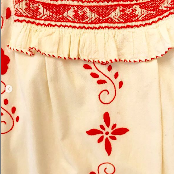 Vintage White and Red Embroidered Dress