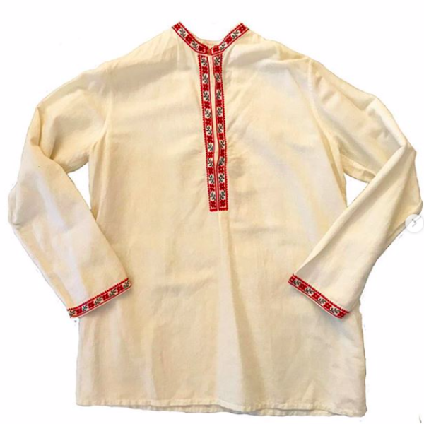Linen Blouse with Embroidered Collar