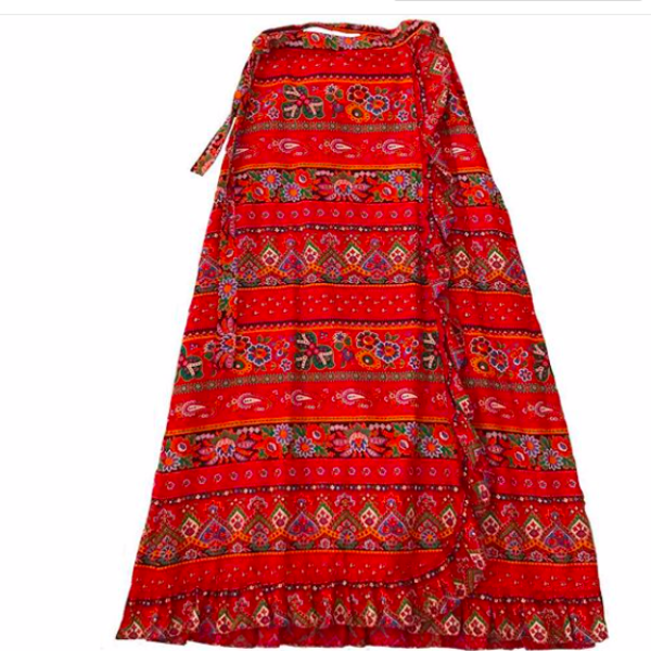 Vintage Red Long Wrap Skirt
