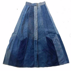 70's Denim Patchwork Maxi Skirt