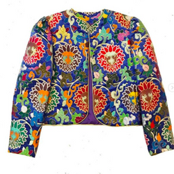 80s Colorful Cropped Brocade Jacket