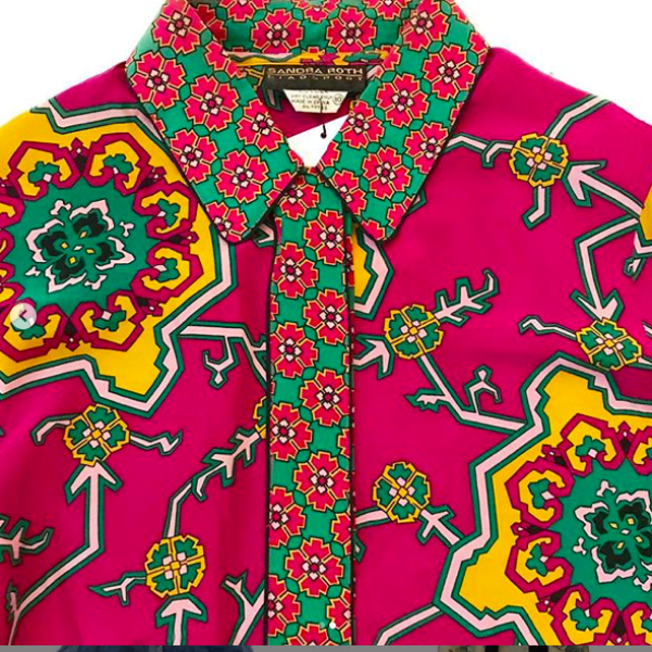 1990's Fushcia Sillk blouse with Bold Print