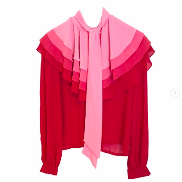 80s Pink Ombre Ruffle Collar Blouse