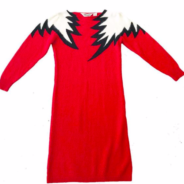 80s Red Sweater Dress with White Flames