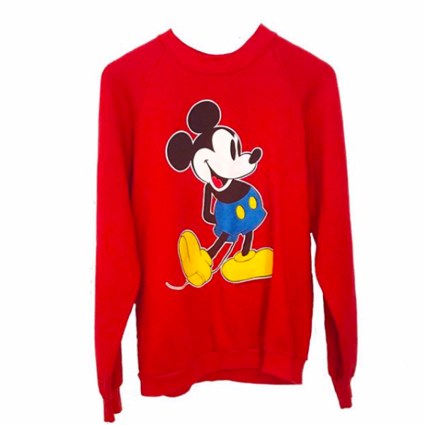 80's Red Mickey Mouse Sweatshirt