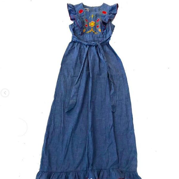 70's Chambray Pinafore Style Maxi Dress