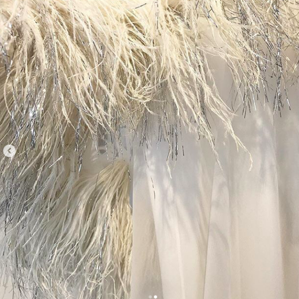 60's Harold Levine White Dress with feathers