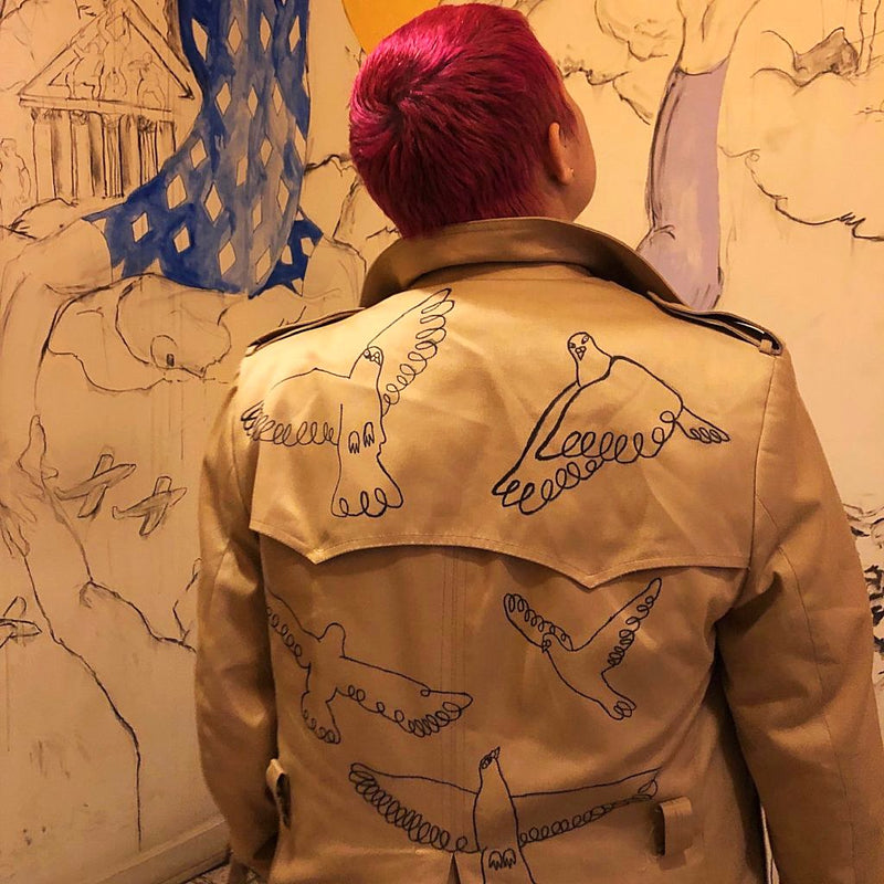Christian Dior Tan Pigeon Doodle Trench