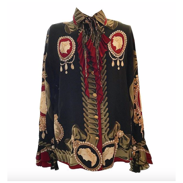 80's Baroque Print Silk Blouse with Pleated Necktie
