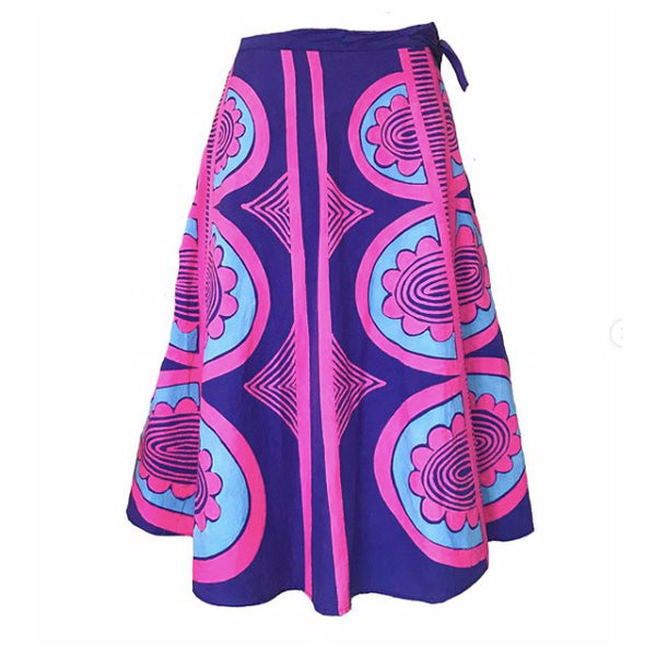 1970's Pink & Blue Batik Wrap Skirt