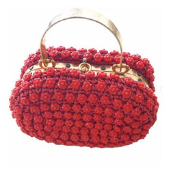 1960's Red Italian Beaded Purse with Brass Handle