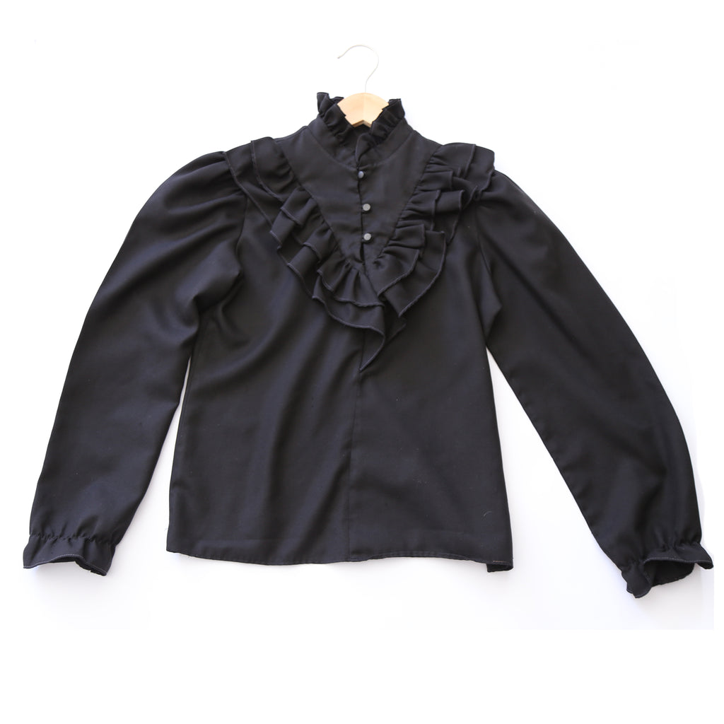80's Black Ruffled Country Western Style Blouse