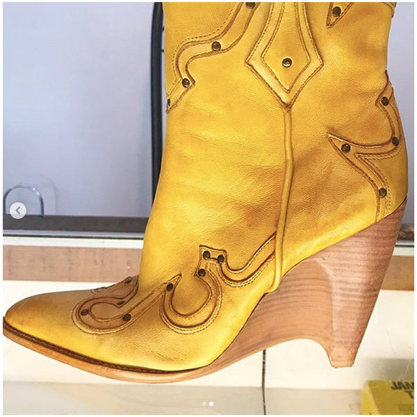 Vintage Tan Western Boots with Wedge Heel