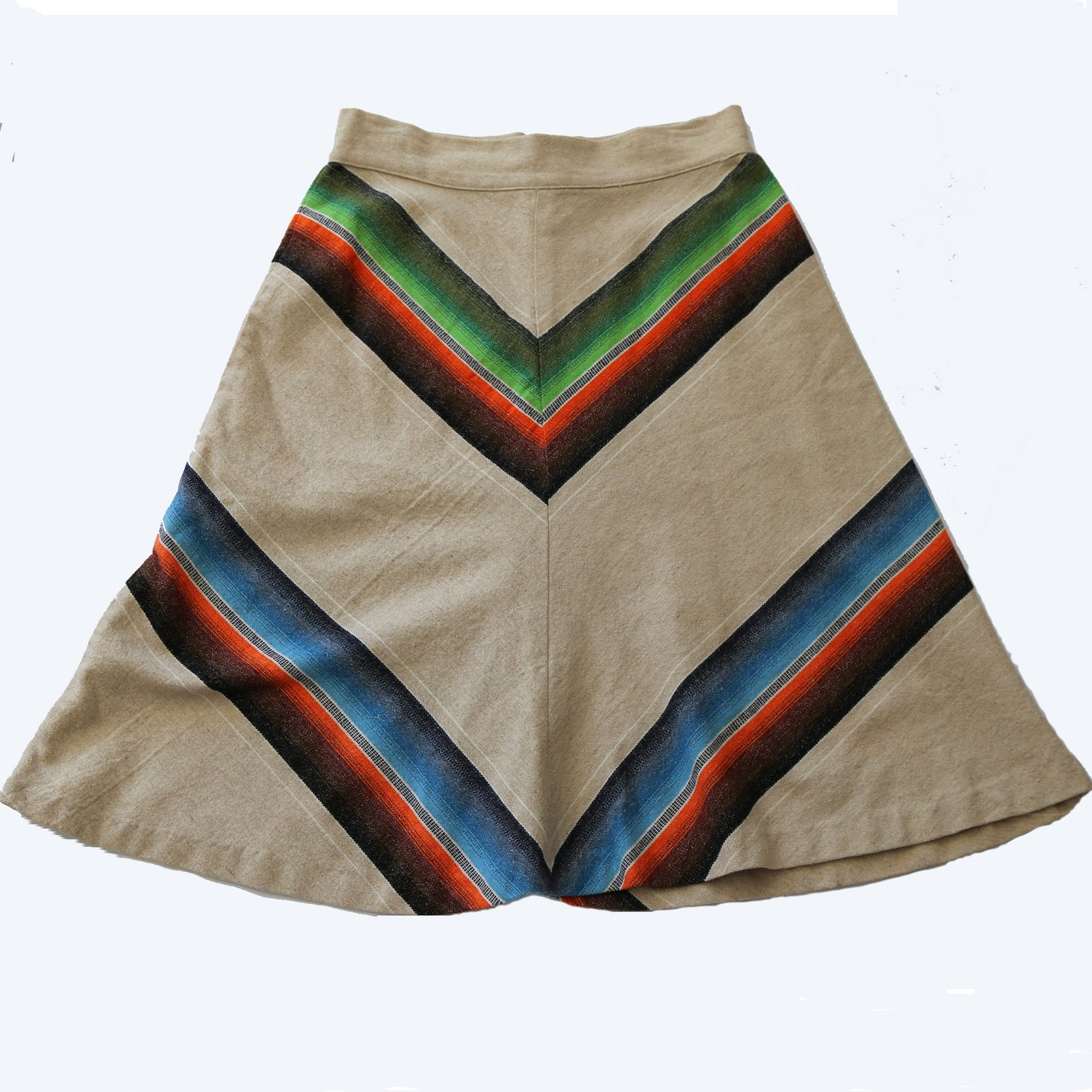 70's Chevron Striped Wool A-Line Skirt