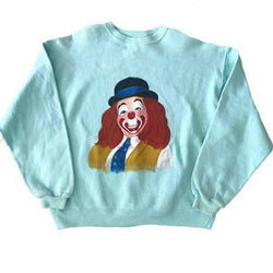 1980's Hand Painted Clown Sweatshirt