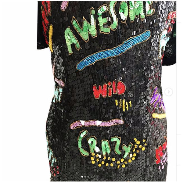 1980's Modi Sequin Party Dress with Words