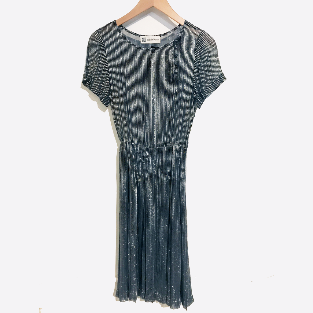 Sheer Navy Dress with Gold Metallic Threads