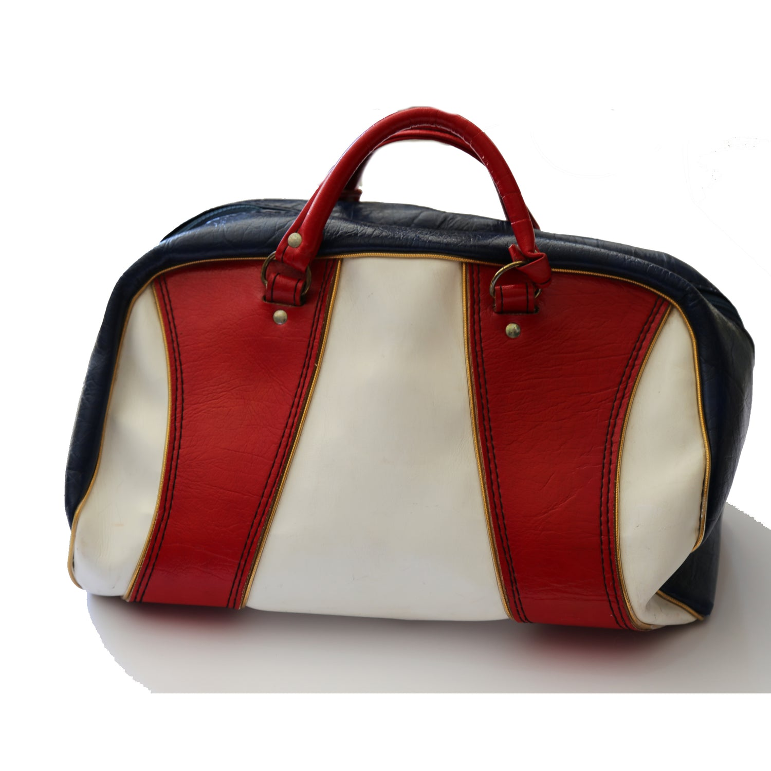 Red, white and blue leather duffel bag