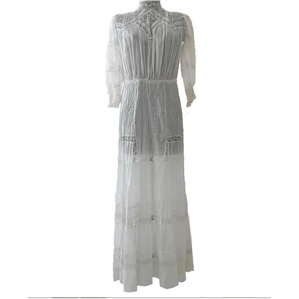 1900's White Lace and Crochet Dress