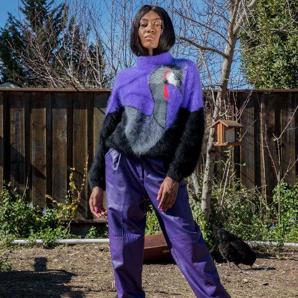 1980's Purple Angora Emu Sweater