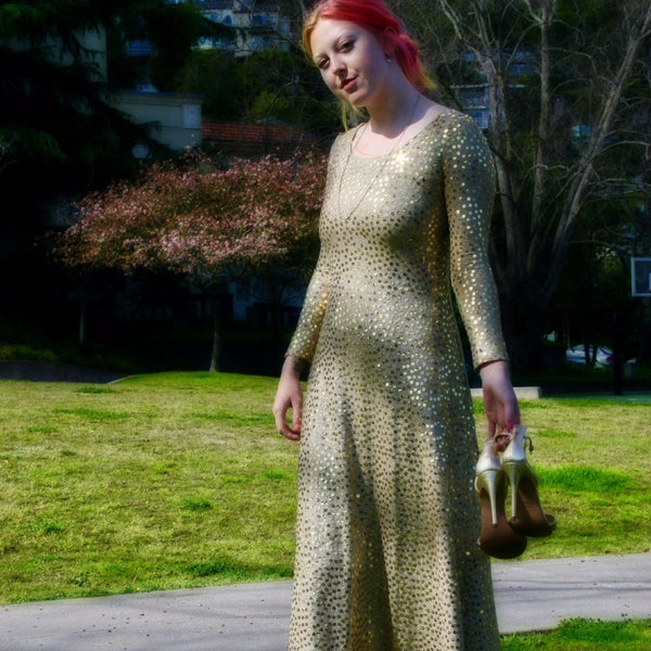 Gold Sequin Maxi Dress (I. Magnin)
