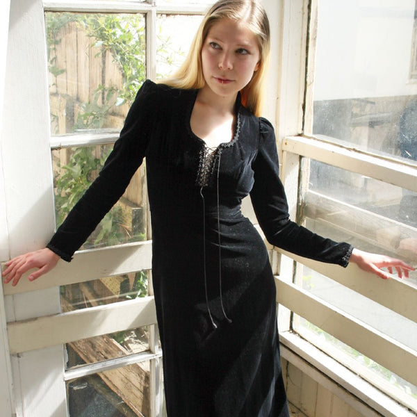 1970's Black Velvet Gunne Sax Maxi Dress