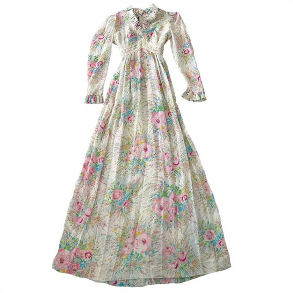 1970's Floral Maxi Dress with Puff Sleeves