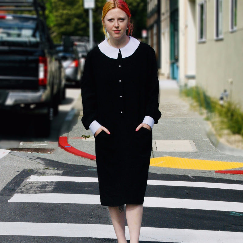 70's Black Wool Dress with White collar