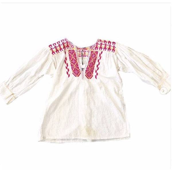 1970's Embroidered Girls Holding Hands Blouse