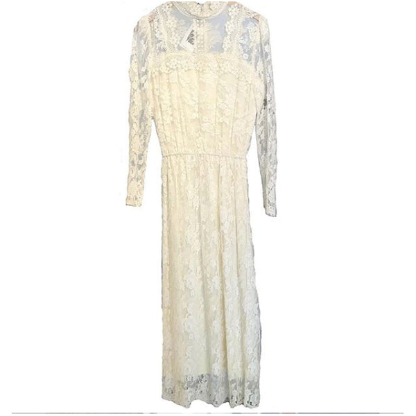 1980's Jessica McClintock Ivory Lace Dress