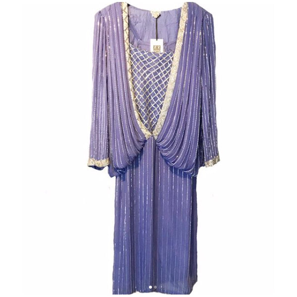 1980's Lavender Beaded Judith Ann Dress