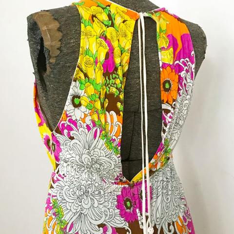 60's floral jumpsuit with open back