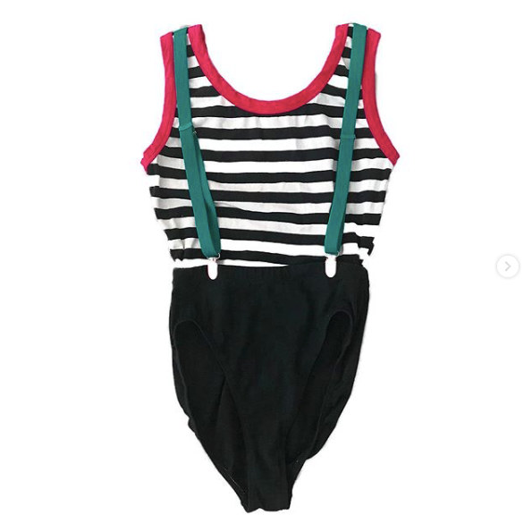 1980's Striped Leotard with Suspenders