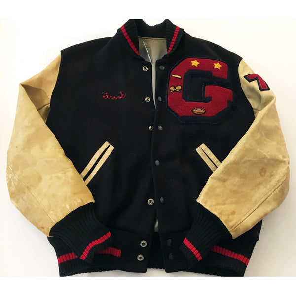 Vintage Navy Blue and Creme Letterman Jacket