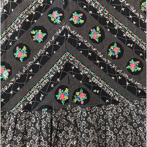 1970's Black Liberty Print Cotton Maxi Skirt