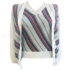 1970's Silver and Navy Lurex Sweater Set