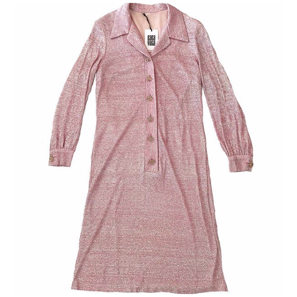 60s Pink and Silver Lurex Shirt Dress