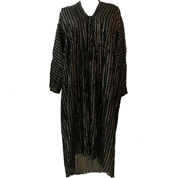 1970's Malcolm Starr Black and Gold Striped Lurex Dress