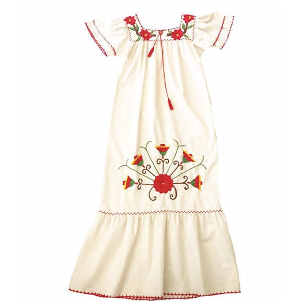 1970's Mexican Dress with Red Poinsettia Embroidery