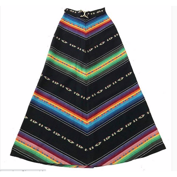 1970s Mexican Woven Stripe Maxi Skirt