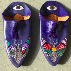 Blue Moroccan Slippers with Hand Painted Detail