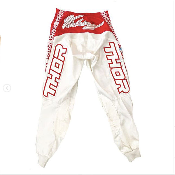 Vintage Red and White Motocross Pants