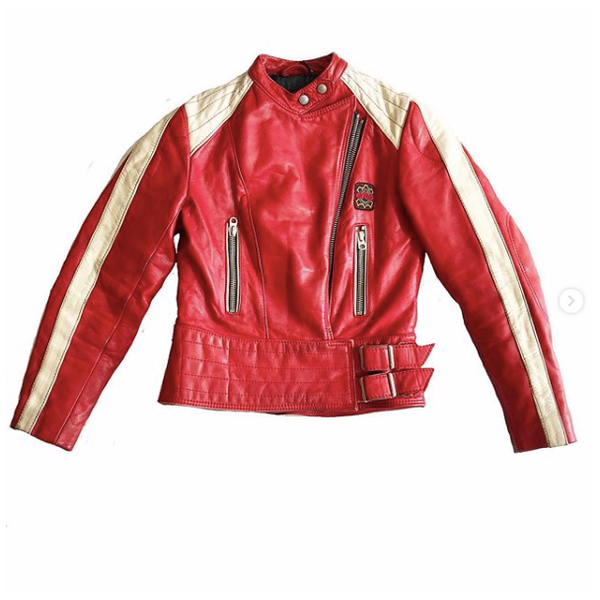 80's Red and White Leather Motorcross Jacket