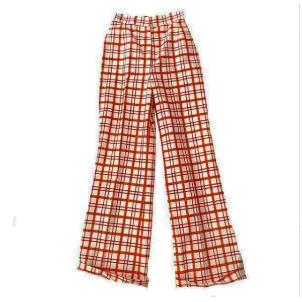 1970s Orange and White Plaid Pants