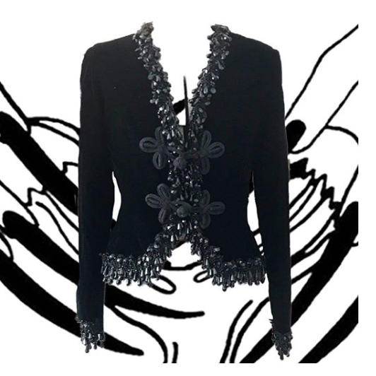 1970's Black Velvet Oscar de la Renta Beaded Jacket