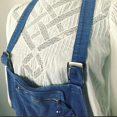1960's French Blue Work Wear Overalls